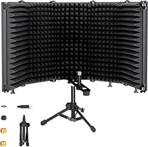 Microphone Isolation Shield with Tripod Stand, SOULGIRL Foldable With 3/8