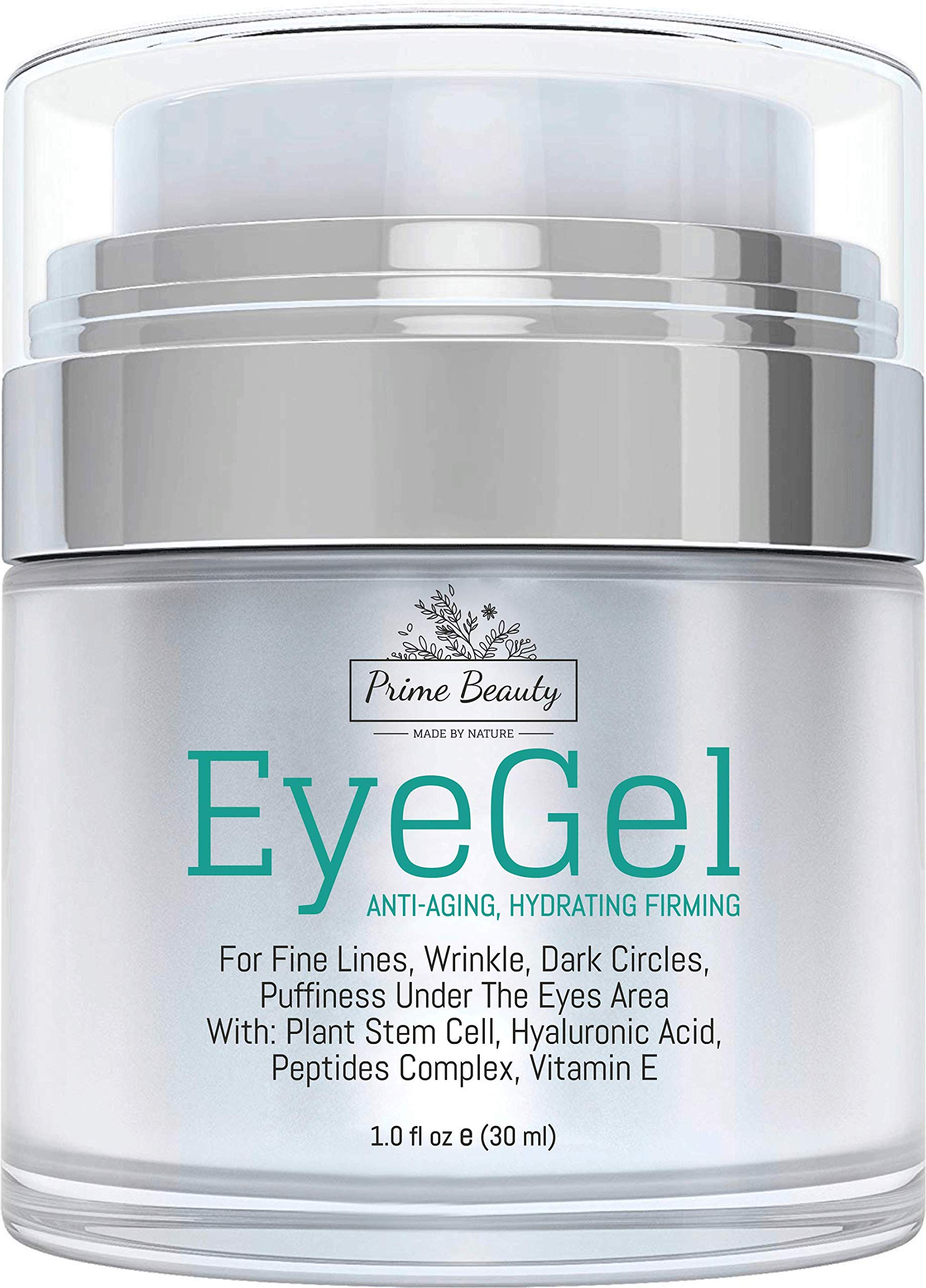 Prime Beauty - Eye Gel - Puffiness, Wrinkles, Bags, Fine Lines, Dark Circles Under and Around Eyes With Hyaluronic Acid, Jojoba Oil, Peptides, Organic Anti Aging Blend for Men & Women by Prime Beauty