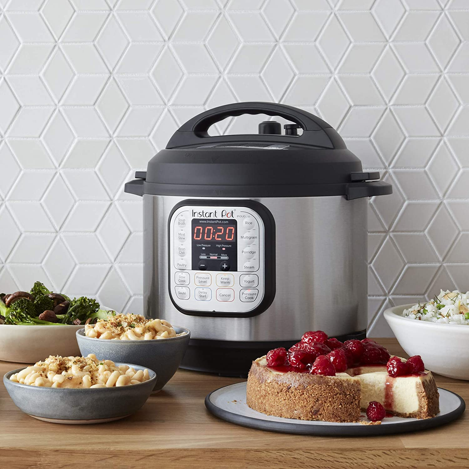 instant pot on counter with food