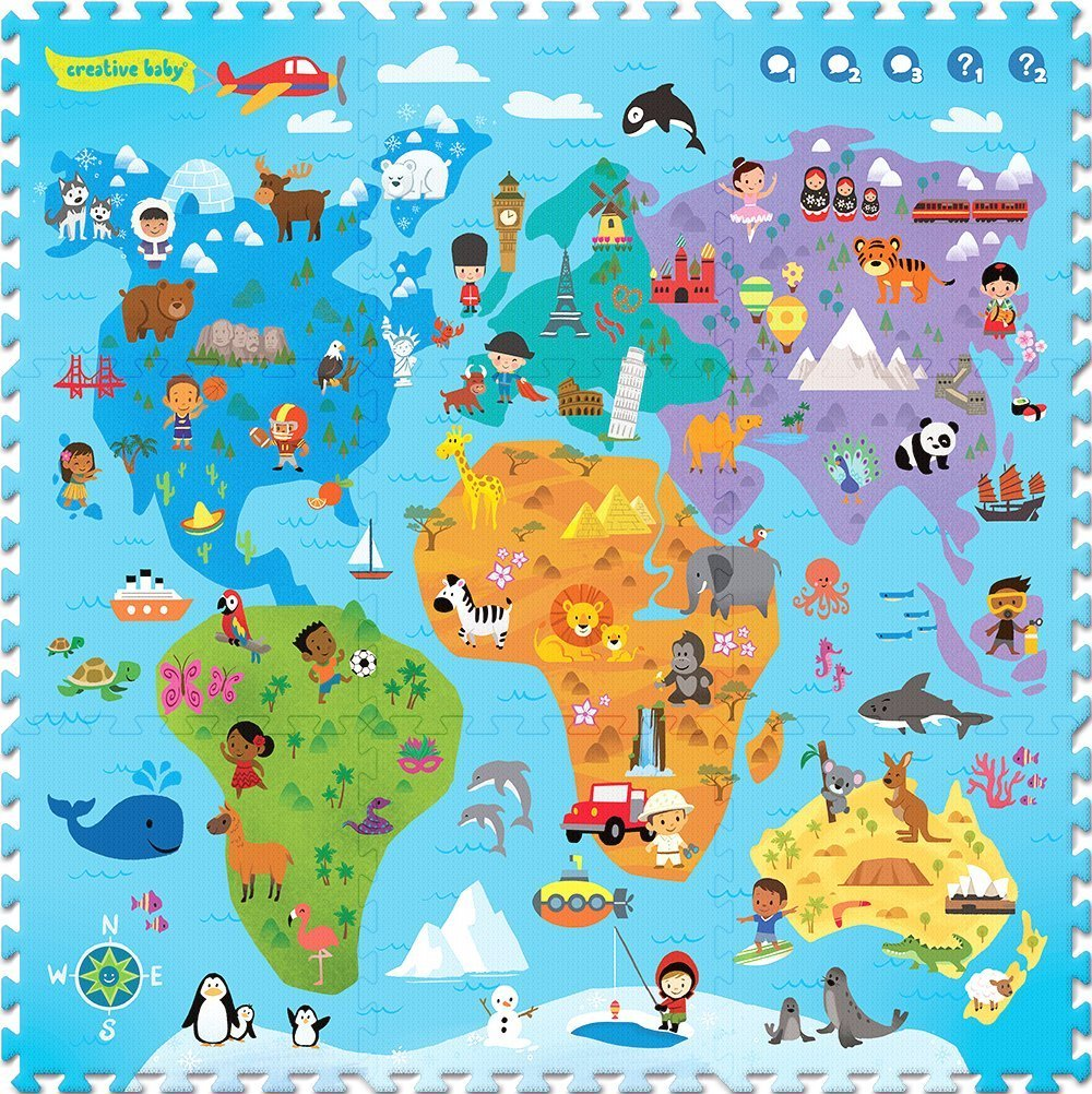 Creative Baby 9 Piece Interactive Playmat, Around The World CMI-015-9