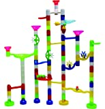Marbulous Transparent In The Dark Marble Run - 105 Piece Set - 90 Building Pieces + 7 Standard Marbles + 8 Glow Marbles by Edushape