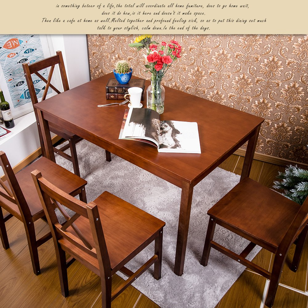 Amazon.com: Merax 5 PC Solid Wood Dining Set 4 Person Table And Chairs  (Walnut.): Kitchen U0026 Dining