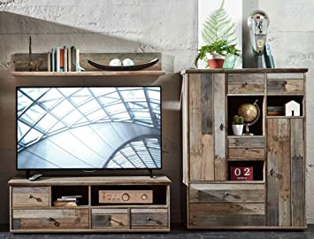Wohnwand Wohnzimmer Set U0026quot;BONANZAu0026quot; 3 Tlg. Kommode TV Lowboard TV  Tisch