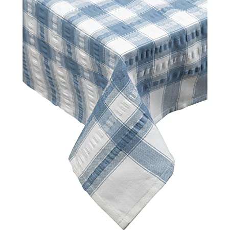 Seersucker Oblong / Rectangle Checked Tablecloth Cotton Check Downview  Table Linen 50u201d X 70u201d