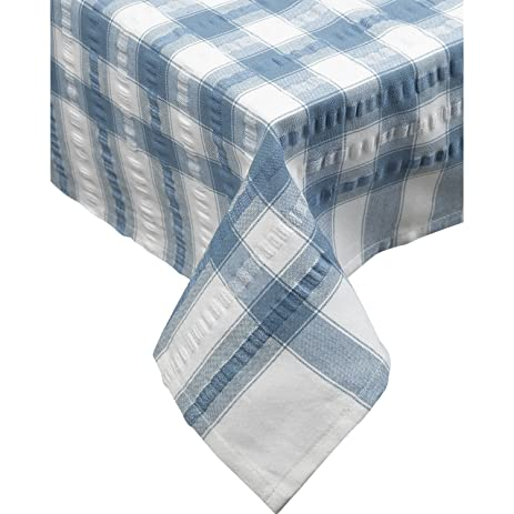 Marvelous Seersucker Round Checked Tablecloth Cotton Check Downview Table Linen 70u201d  Circle (Light Blue)