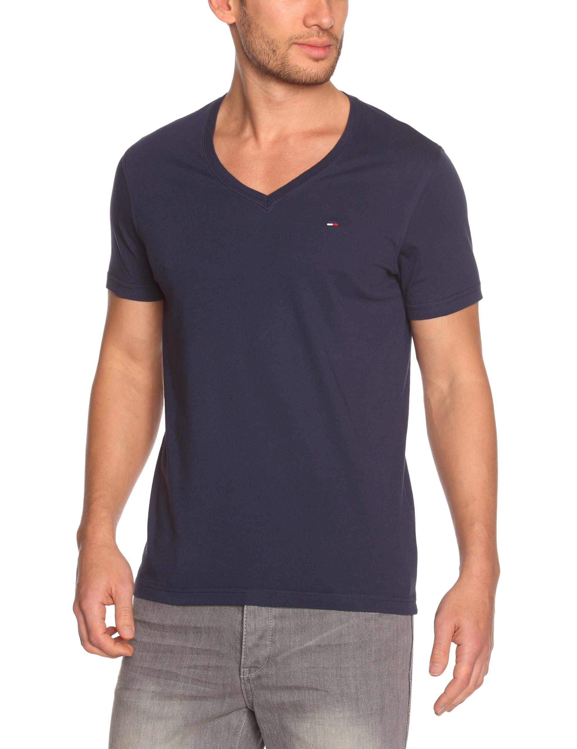 Hilfiger Denim Men's Panson V-Neck Logo T-Shirt Small Peacoat