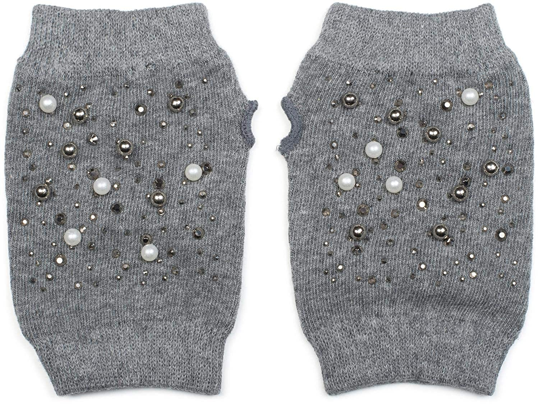styleBREAKER Guanti senza dita da donna a maglia fine con perle e strass guanti invernali in maglia 09010016