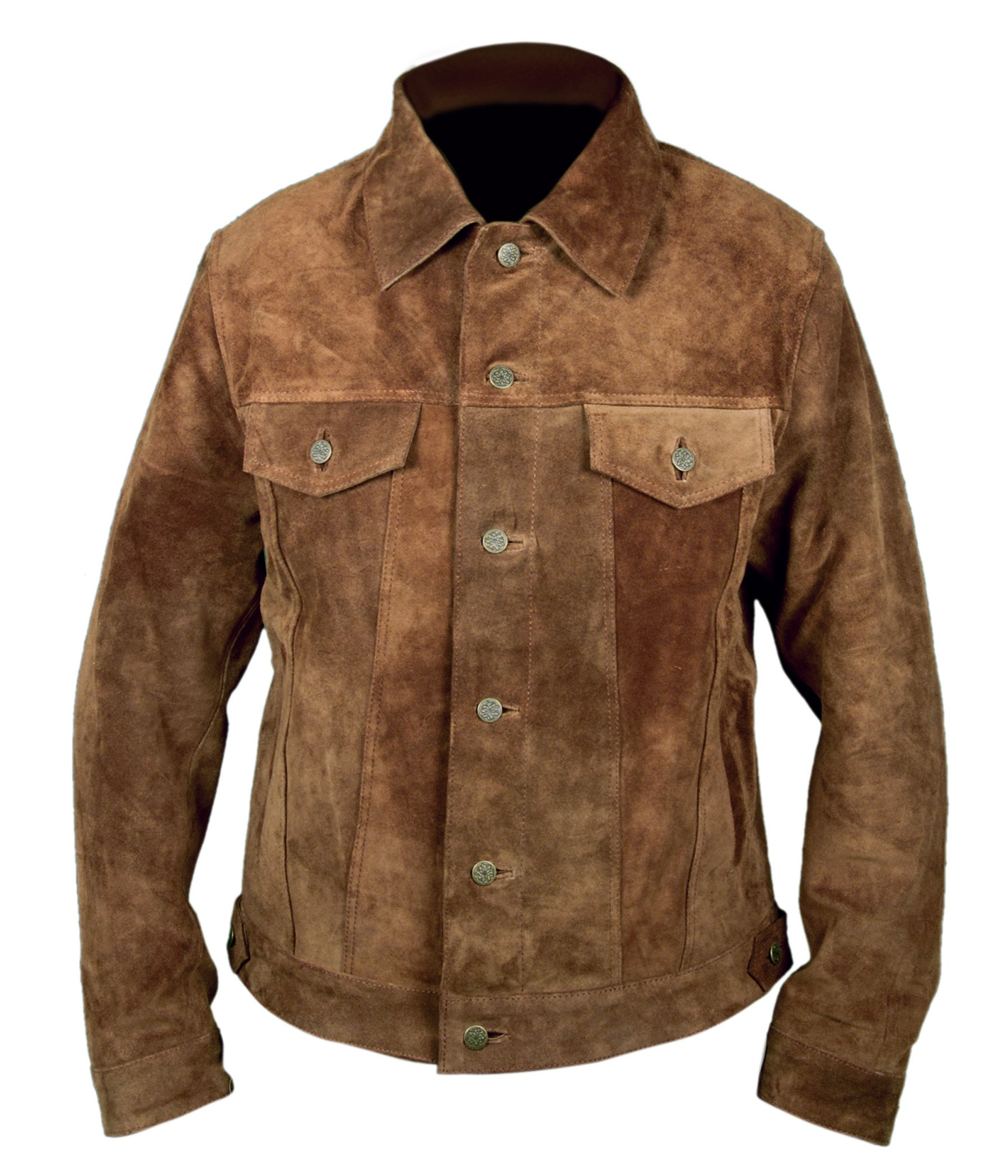 F&H Boy's Genuine Suede Cowhide Leather Wolverine Logan Hugh Jackman Jacket XL Brown