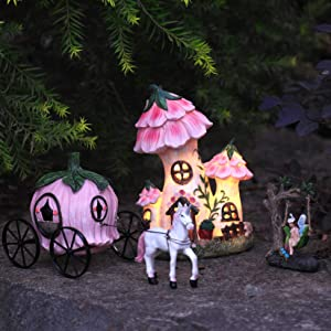 LA JOLIE MUSE Resin Fairy Garden - Miniature Floral Roof Cottage with Solar LED Lights, Fairy House Figurine Set of 3 with Pumpkin Carriage, Outdoor Decor for Patio Yard Lawn