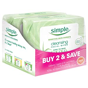 Simple Face Cleansing Wipes, for Sensitive Skin, 25 ct, Twin Pack