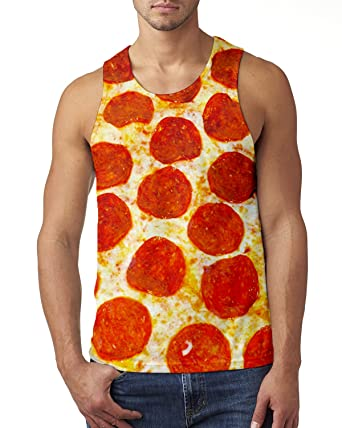 2fe2ead490ce7 Alistyle Teens Funny 3D Print Pizza Meat Tank Tops Summer Casual Sleeveless  Graphics Tees  Amazon.co.uk  Clothing