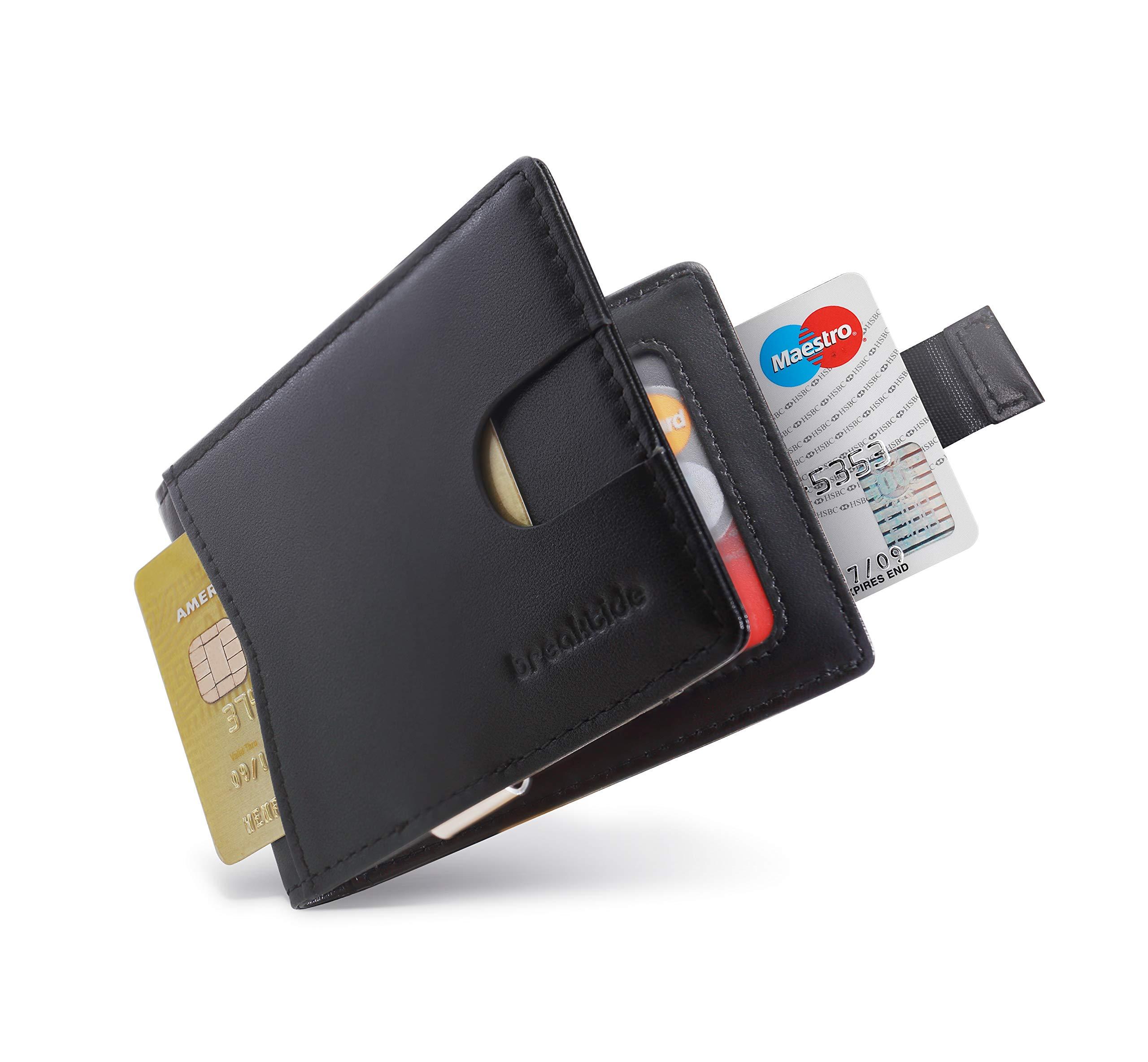 BREAKTIDE Wallets for Men - Slim Bifold Genuine Leather Wallets for Men with Money Clip