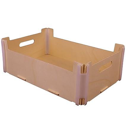 Pack de 3 cajas 30x20x10 apilables - Madera y plástico - Montaje manual tipo puzzle -