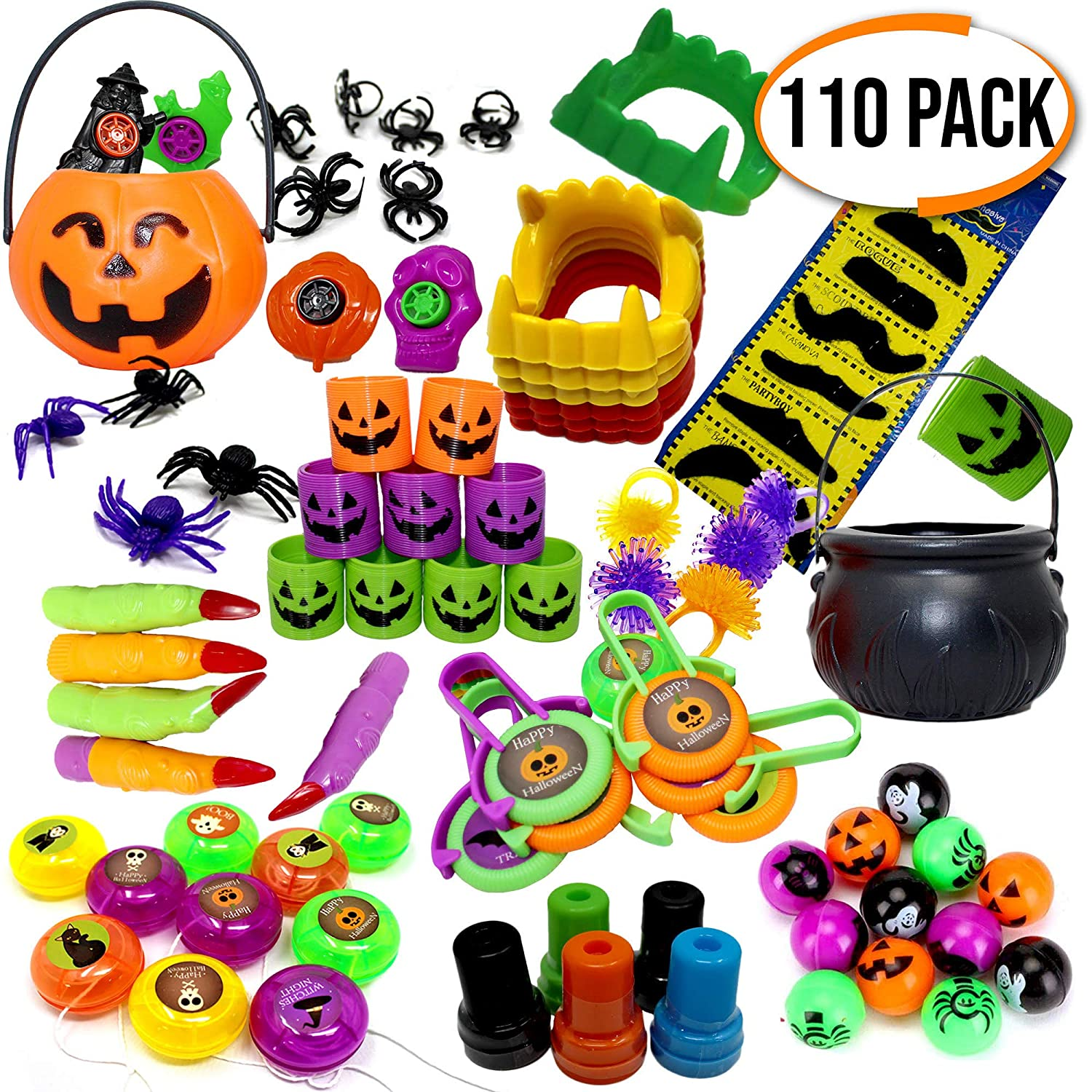 Set of 110 Assorted Halloween Themed Party Toys - Perfect for Party Favours - Pinatas - Boys Girls Birthday & Halloween Parties - Trick & Treat Party Bag Filler - Christmas Etc The Twiddlers