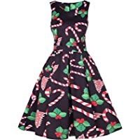 OQC Women's Christmas Print Vintage Sleeveless Party Flared A Line Dress with Belt