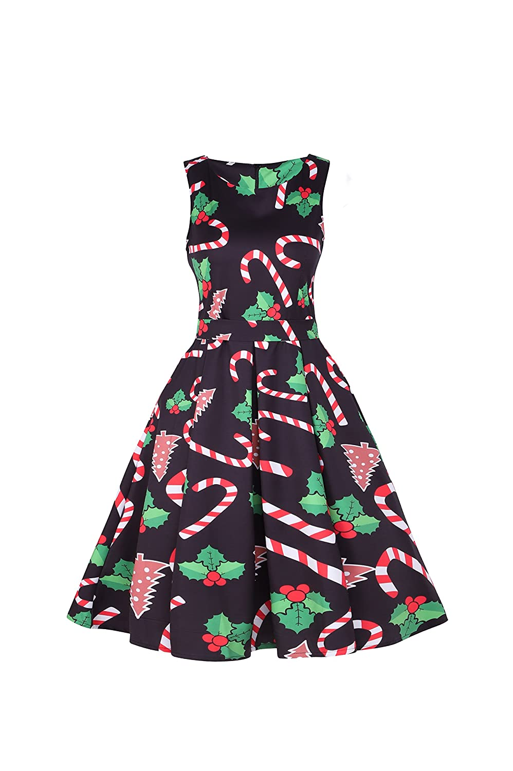 7ced8ec5cb3 Ugly Chrismas Dress  Christmas Print  Sleeveless  A-line  Round Neck  Above  Knee Belt Swing Dress. Best costumes for celebrating Christmas and New Year!