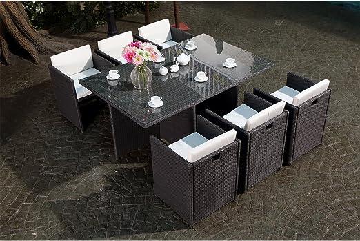 Concept-Usine Miami 6 Gris/Blanc : salon encastrable 6 personnes en résine  tressée grise poly rotin