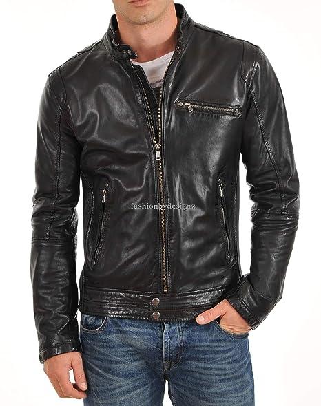 Amazon.com: Chaqueta de piel de cordero para hombre MJJ01 ...