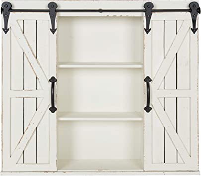 Amazon Com Kate And Laurel Cates Wood Wall Storage Cabinet With Two Sliding Barn Doors Rustic White Furniture Decor