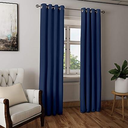 Buy Encasa Homes Door Window Curtain Plain Colour Scotch Blue 1