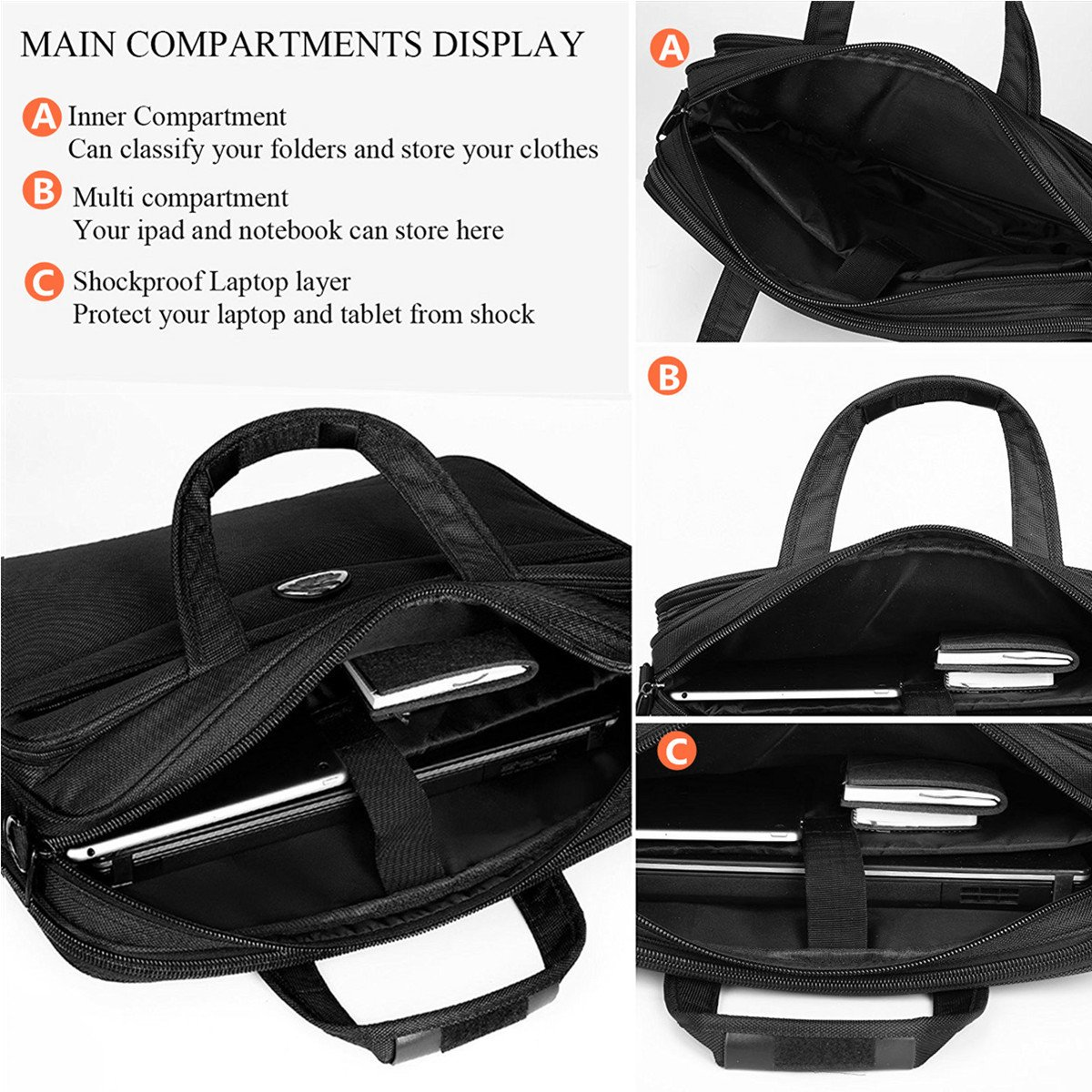 Briefcase 15.6 Inch Laptop Bag Laptop Messenger Bag, Business Office Bag Multifunctional Laptop Case Shoulder Bags for Men Women Fit for 15'' 15.6 Inch Acer HP Dell Lenovo Computer Notebook MacBook by Top Super (Image #2)