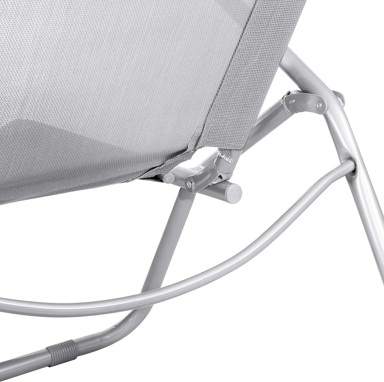 SPRINGOS Sonnenliege Gravity Relaxliege Gartenliege aus Metall klappbar Freizeitliege Grau
