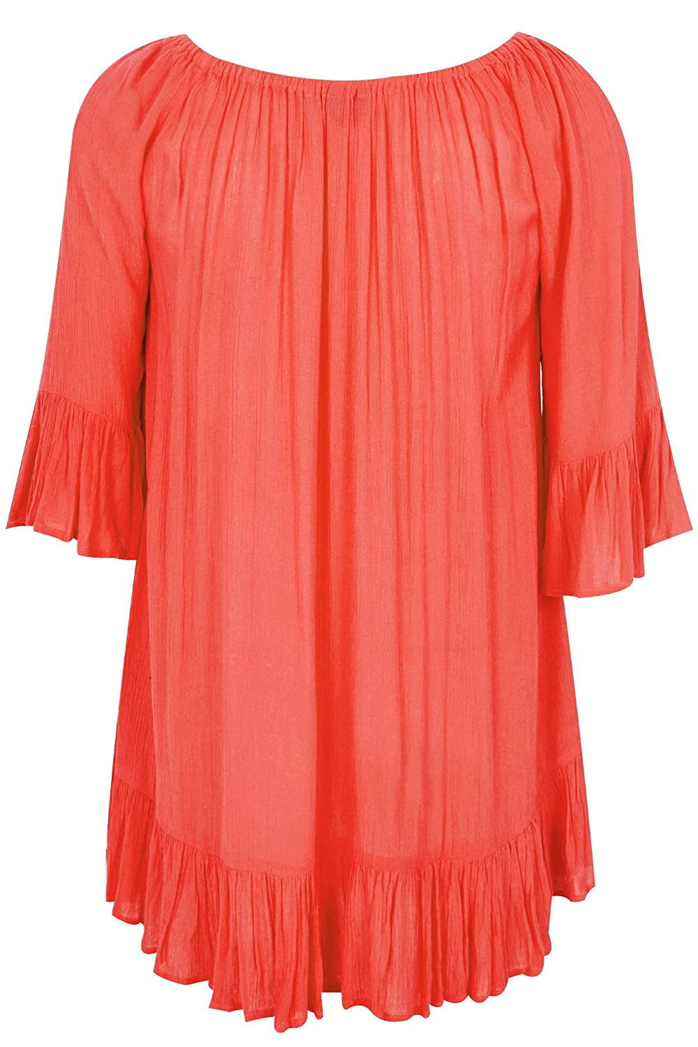 c5fd061032c5b Yours Women s Plus Size Coral Bardot Gypsy Top with Beaded Details   Flute  Sleeves  Amazon.co.uk  Clothing