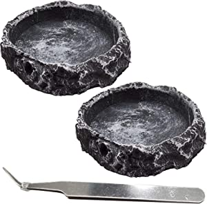 RONYOUNG 2PCS Reptile Water Bowls Reptile Feeder Food Dish with Tongs for Tortoise Lizard Bearded Dragon Frog Leopard Gecko Snake Chameleon