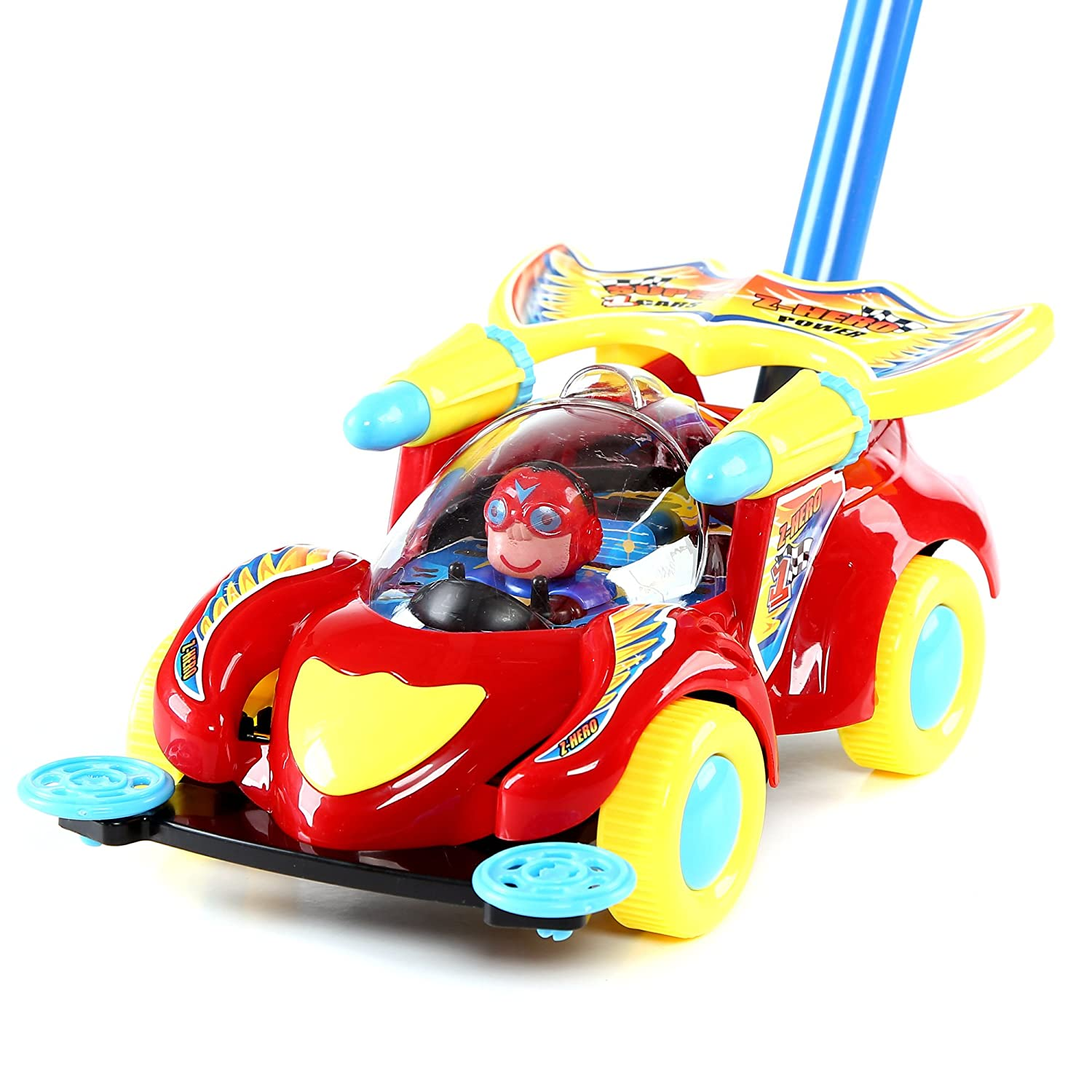 Fun Central BC895 1 Pc 10 Inches Race Car Push Toy Pushing Toy for Kids Outdoor Push Toys Classic Push and Pull Toys Push Around Toy for Baptism Birthday and Party Prizes