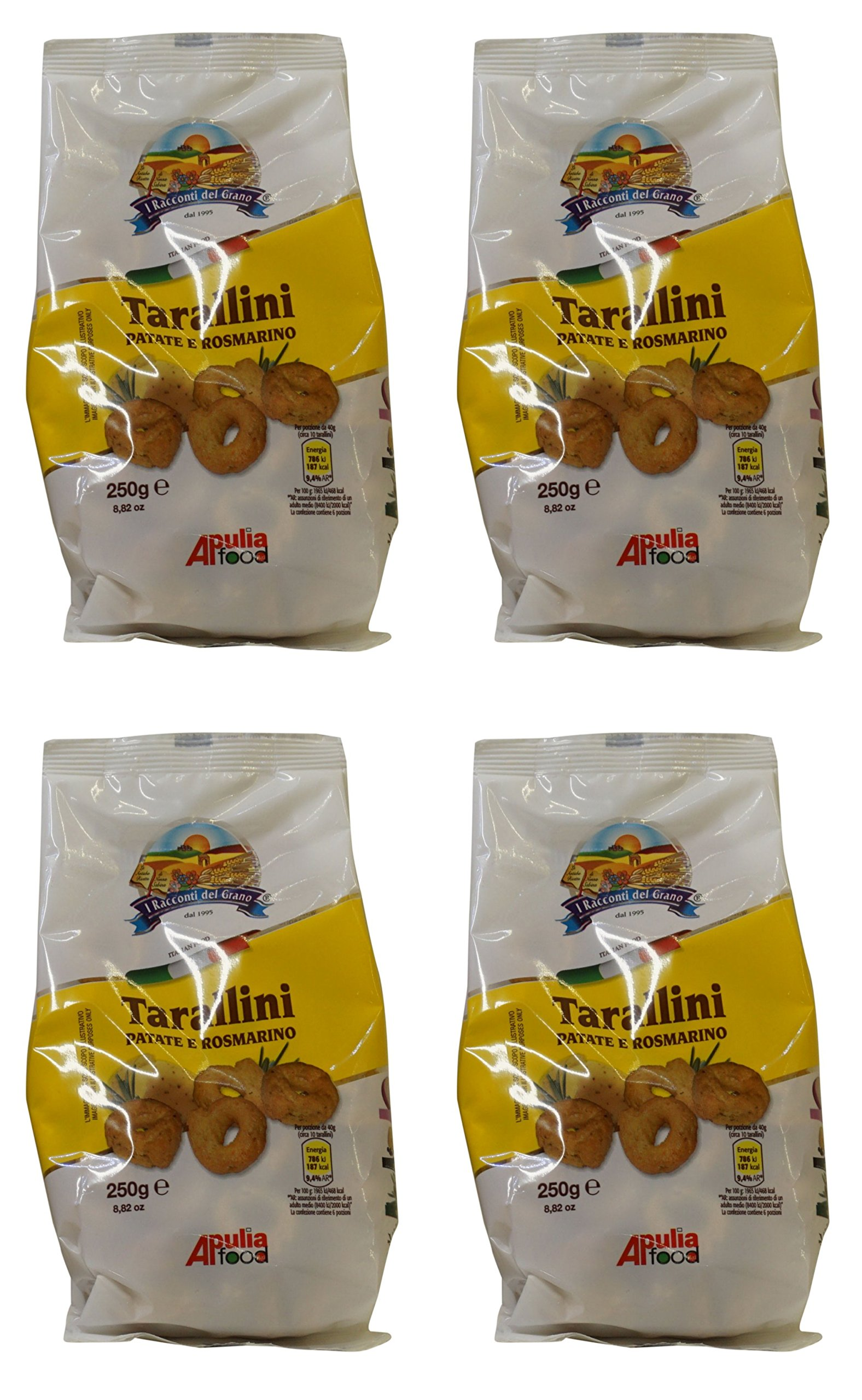 I Racconti del Grano:''Tarallini Patate e Rosmarino'' Italian Taralli, Potatoes and Rosemary Taste - 8.82 Ounces (250gr) Packages (Pack of 4) [ Italian Import ]
