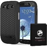 PowerBear Batterie Étendue Samsung Galaxy S3 [4500mAh], Couvercle Arrière et Boîtier de Protection (Jusqu'à 2.2X de Puissance de Batterie Supplémentaire) - Noir [24 Mois Garantie]