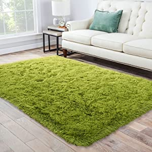 Abrighter Super Soft Area Rugs for Living Room, Fuzzy Thick Shaggy Area Rug Fluffy Carpet for Baby Kids Girls Boys Teen Nursery, Modern Decor Floor Bedroom, Plush Accent Comfy Mat Cozy 6x9 Green