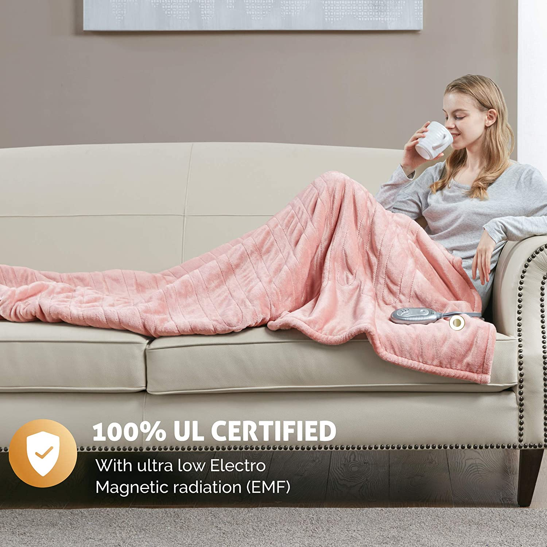 Hyde Lane Sherpa Electric Heated Blanket | 60x70 Premium Oversized Plush Electric Blanket | Blush | Extra Cozy & Soft | 3 Heat Settings | Auto-Shutoff | Machine Washable: Home & Kitchen