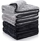 MATCC 1200GSM Microfiber Cleaning Cloths Lint Free Dual Layer Ultra-Thick Car Detailing Towel Super Absorbent Silk Edging Car Wash Waxing Polishing and Drying Towel 16'' x 16''(Pack of 4)