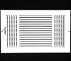 """14"""" X 10"""" 3-Way AIR Supply Grille - Vent Cover & Diffuser - Flat Stamped Face - White [Outer Dimensions: 15.75""""w X 11.75""""h]"""