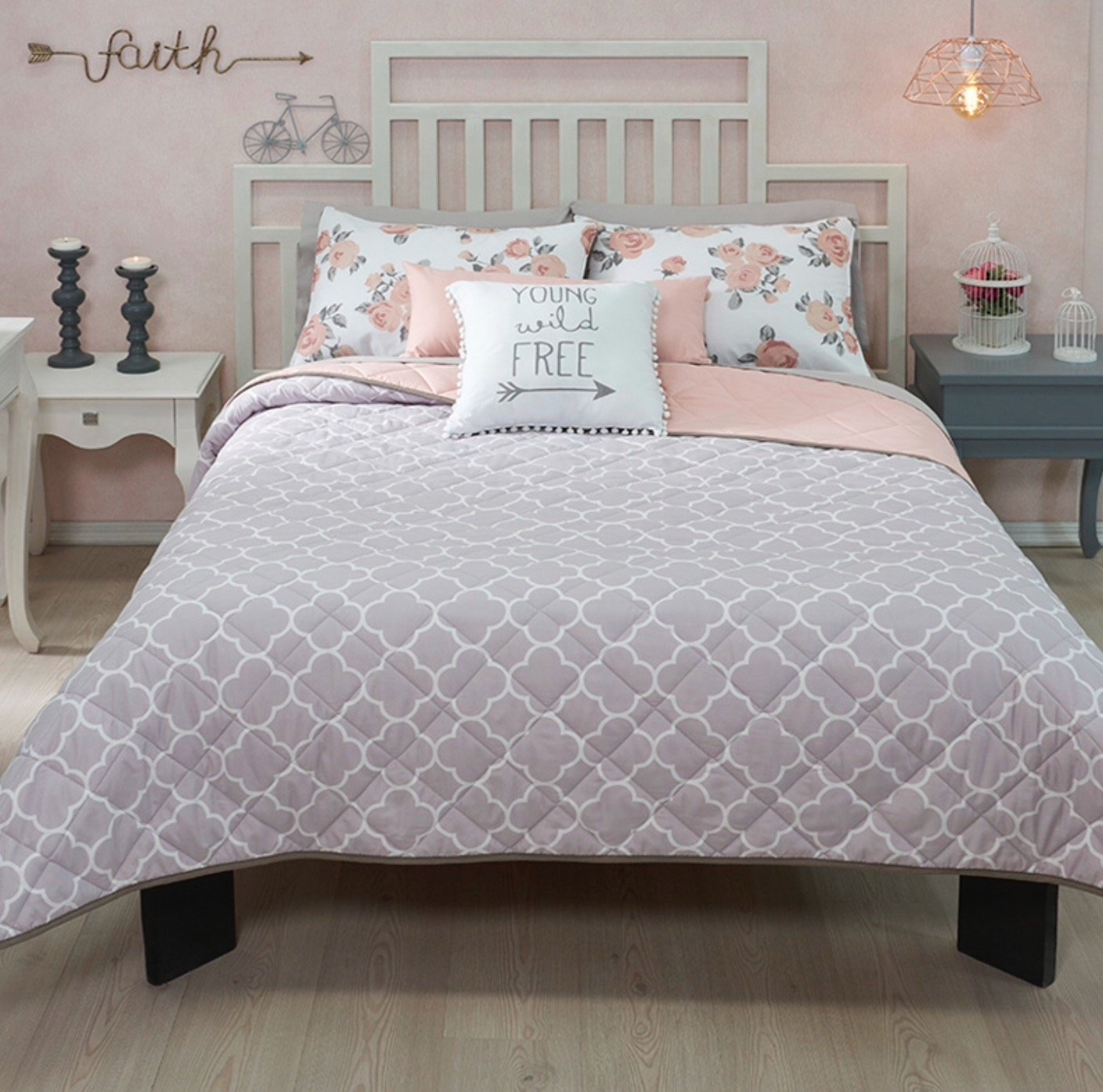NEW FREE GRAY/PINK TEENS GIRLS REVERSIBLE COMFORTER SET 3 PCS TWIN SIZE by JORGE'S HOME FASHION (Image #6)