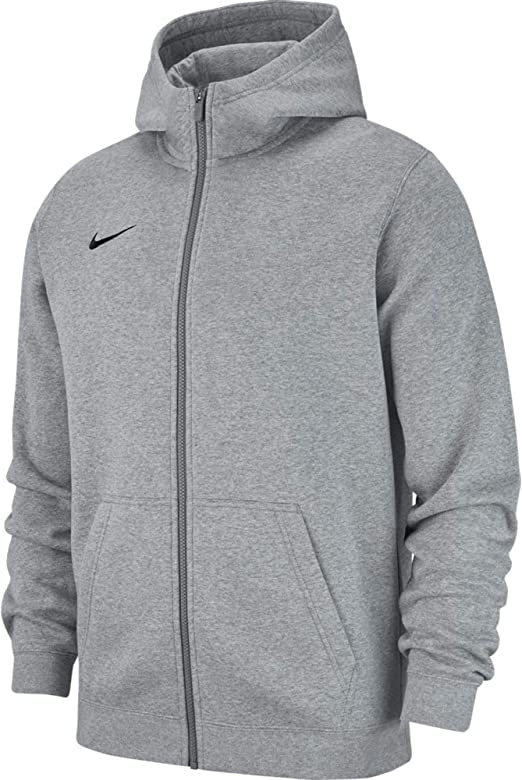 Felpa con Cappuccio Unisex Bambini M Nike Club19 Full-Zip Dk Heather//Dark Steel Grey//Black