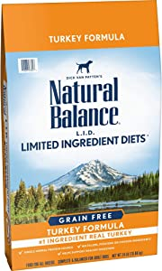 Natural Balance L.I.D. Limited Ingredient Diets High Protein Dry Dog Food, Turkey Formula, 24 Pounds, Grain Free