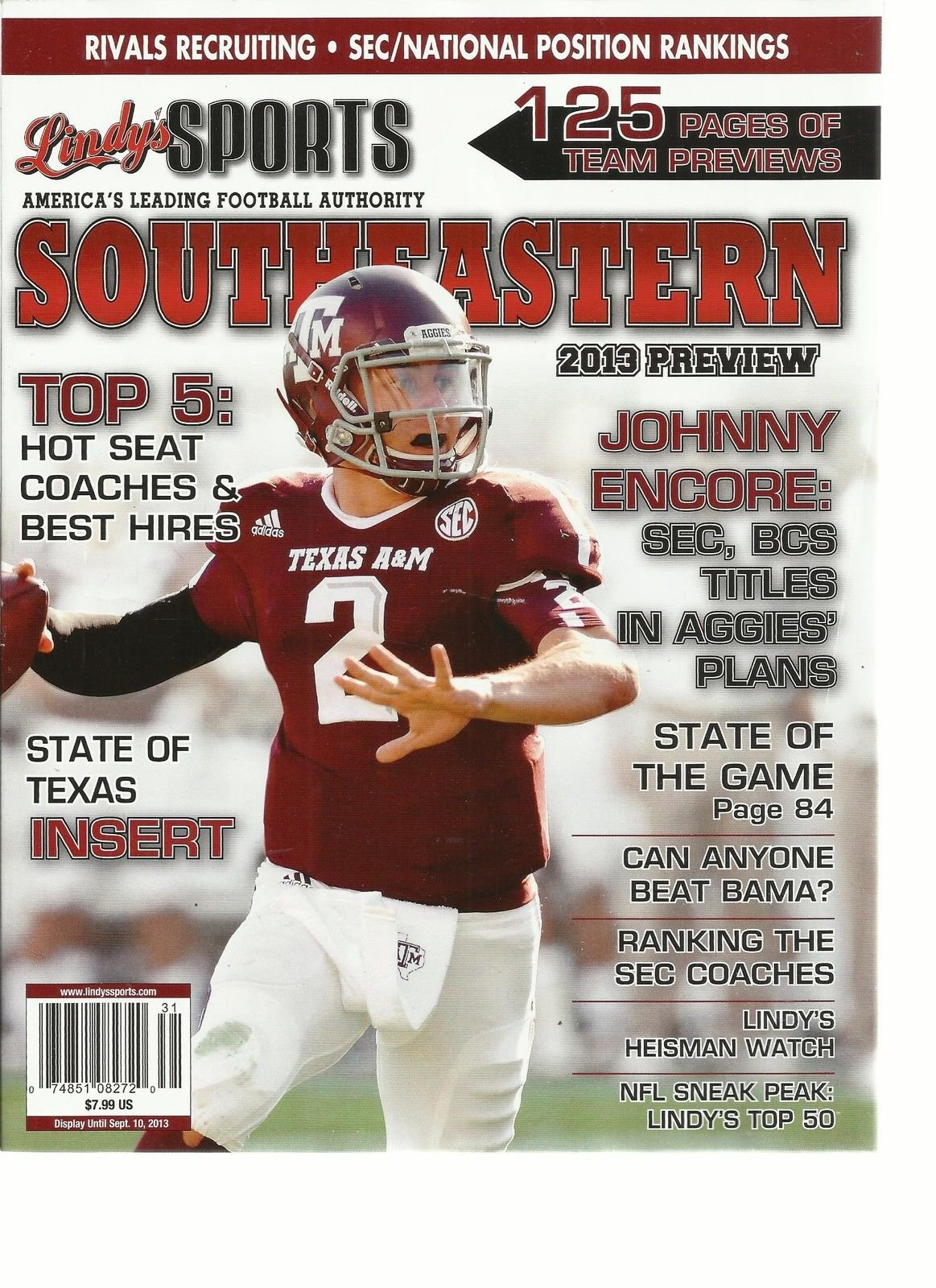 LINDY'S SPORTS SOUTHEASTERN 2013 PREVIEW, (AMERICA'S LEADING FOOTBALL AUTHORITY