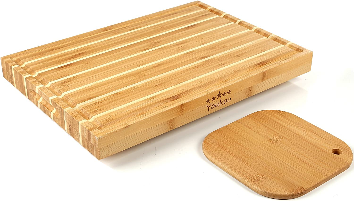 Thick Bamboo Cutting Board Set, Large Butcher Chopping Block & Serving Tray with Wooden Feet