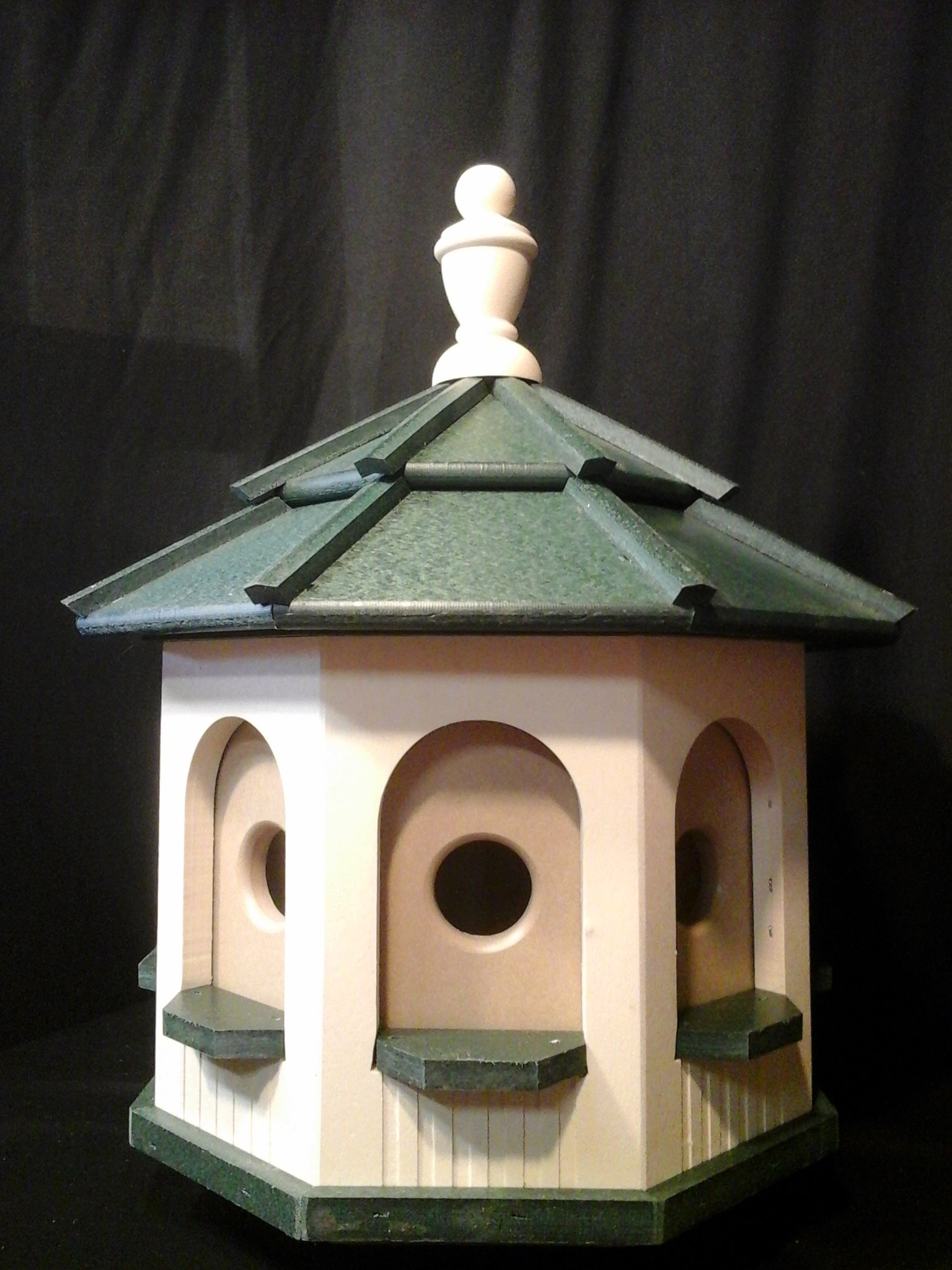Medium Handcrafted Poly Octagon Gazebo Birdhouse Homemade Handmade Ivory & Green