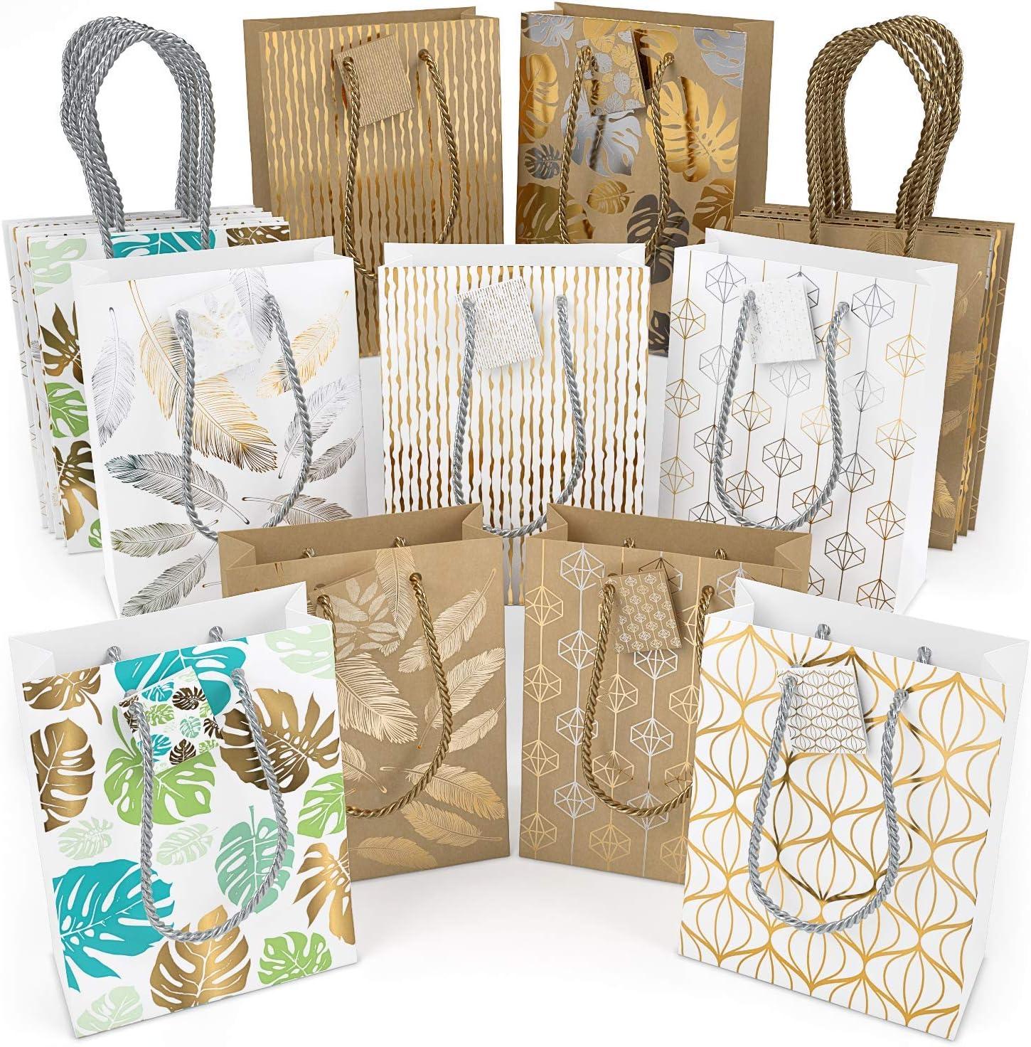 f/êtes Sac cadeau Arteza pack de 16 8 motifs en tout anniversaire 2 sacs blancs de chaque mod/èle 24 x 17,8 x 8,6 cm Sac cadeau papier brillant Sac cadeau No/ël lot