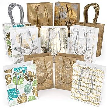 ARTEZA Bolsas de regalo | 24 x 17.8 x 8.6 cm | Set de 18 bolsas | 9 diseños combinados| 2 bolsas de cada diseño | Ideales para regalos de cumpleaños y ...