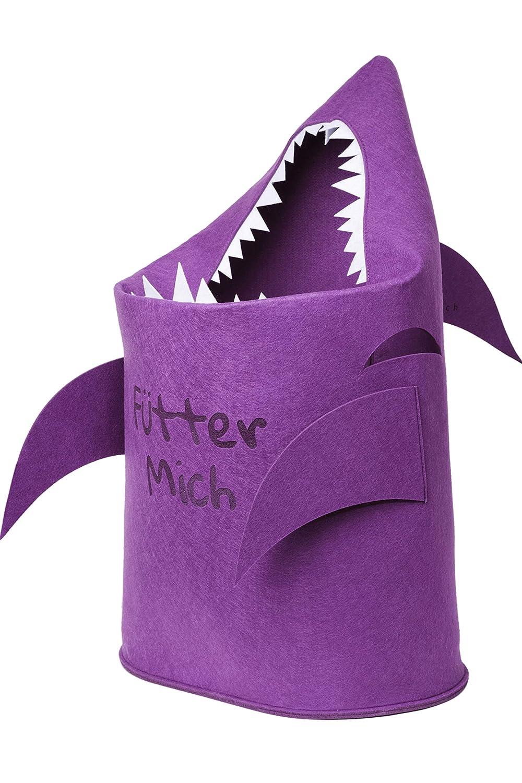 Aufräumsack für Kinderzimmer | Aufbewahrungs-Korb für Spielzeug, Wäsche, Kinder aus Filz |Papierkorb & Spielzeugkorb Hai Wäsche