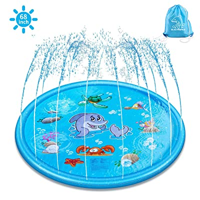 "Splash Pad & Sprinkle Play Mat, ELECTRAPICK Upgraded 68"" Inflatable Outdoor Sprinkler Pad Toddler Water Toys, Kids Outdoor Party Sprinkler Toy"