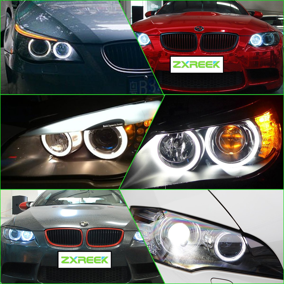 Fishyu Car LED Headlight Angel Eye Halo Car Supplies for BMW E46 3 Series Yellow