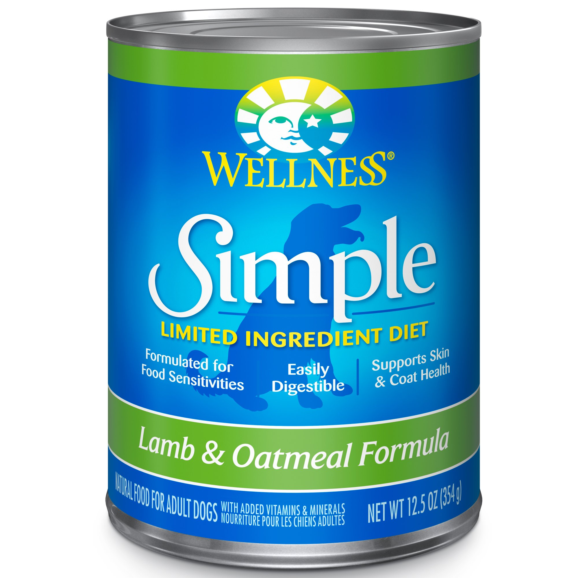 Wellness Simple Natural Wet Canned Limited Ingredient Dog Food, Lamb & Oatmeal, 12.5-Ounce Can (Pack Of 12) by Wellness Natural Pet Food