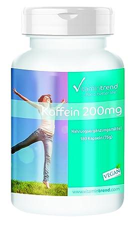 Cafeína 200mg - ¡Bote para 6 MESES!- vegana - paquete grande - 180 cápsulas - para la energía - vitalidad - perder peso: Amazon.es: Salud y cuidado personal