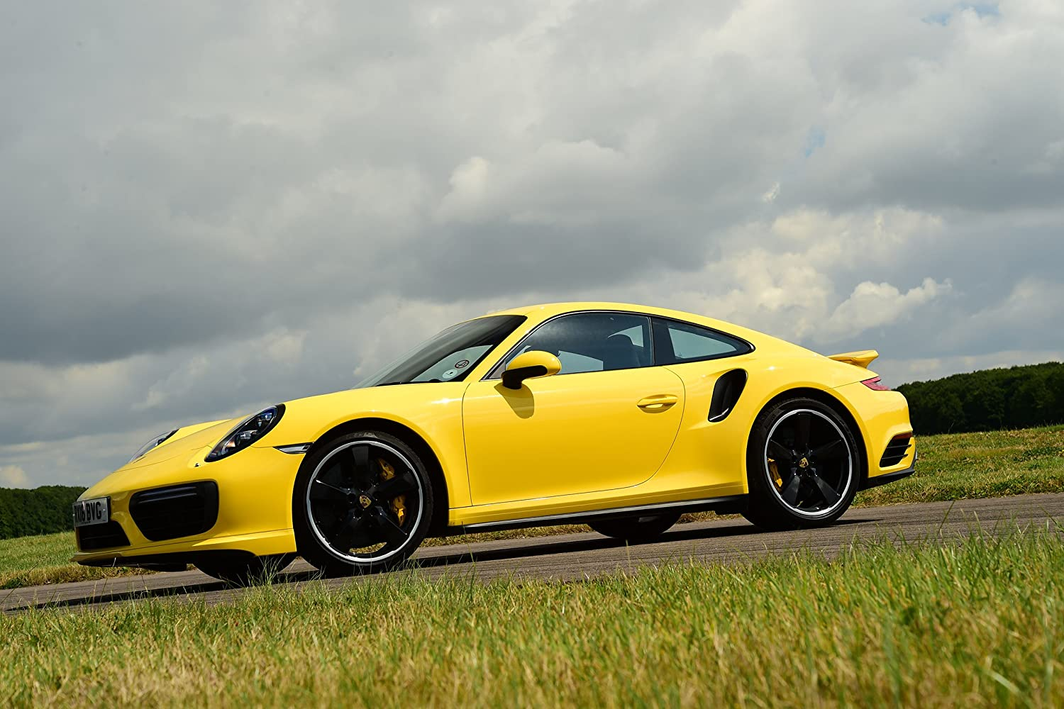 Amazon.com: Porsche 911 Turbo Coupe UK Spec (2016) Car Print on 10 Mil Archival Satin Paper Yellow Front Side Static View 11