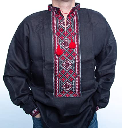 Amazon.com  Vyshyvanka Mens Ukrainian Embroidered Shirt Handmade ... 5ef22b4a7